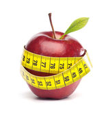 Isolated Apple with tape Measure - Diet Concept — Stock Photo
