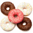 Stock Photo: White, red and brown donuts
