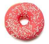 Pink, red Donut with sugar sprinkles — Stock Photo