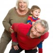 Grandparents with Grandchild on White Background - Having Fun — Stock Photo