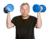 Funny Sportive Senior Man - Hard Exercise — Stock Photo