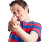 Teenage boy (Causian), aiming, pointing at camera — Stock Photo #28727631