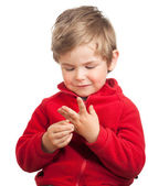 Toddler boy counting with fingers — Stock Photo