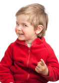 Blonde toddler boy pointing to camera — Stock Photo