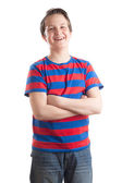 Teenage boy (Causian) waist up portrait, laughing — Stock Photo