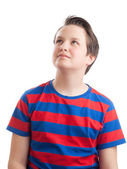 Teenage boy (Causian) waist up portrait, looking up — Stock Photo