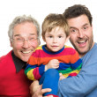 Stock Photo: Three generations: Grandfather, father and son