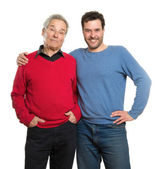 Senior and mature adult, two generations portrait — Stock Photo