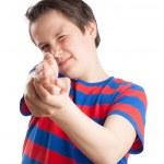Teenage boy (Causian), aiming, pointing at camera — Stock Photo #31449537