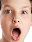 Surprised teenager face closeup — Stock Photo