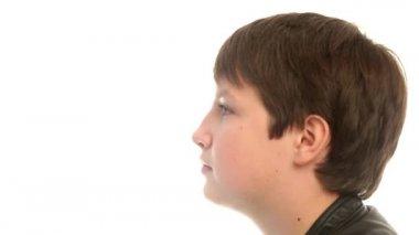 Teenage boy closeup — Stock Video