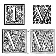 Stock Photo: Initials - Ornamental Capitals - from antique bible - T, V, W