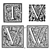 Initials - Ornamental Capitals - from an antique bible - T, V, W — Stock Photo