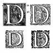 Stock Photo: Initials - Ornamental Capitals - from antique bible - E