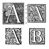 Initials - Ornamental Capitals - from an antique bible - E — Stock Photo