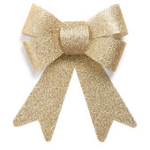 Gold Christmas ornament bow tie — Stock Photo