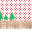 Christmas Trees on Jute and red Polka Dot Background, Paper Tear — Stock Photo