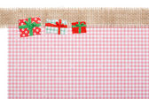Gifts on Jute and red checkered Background, Paper Tear, Christma — Stock Photo