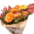 Autumnal Flower bouquet, Isolated on White — Stock Photo