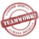 Teamwork, Red Grunge Seal Stamp — Stockfoto