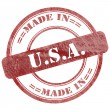 Made In USA, Red Grunge Seal Stamp — Stock Photo