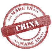 Made In China, Red Grunge Seal Stamp — Stock Photo