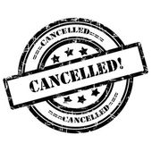 Cancelled. Rubber Stamp, Grunge, Circle — Stock Photo
