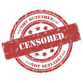 Censored, not suitable. Rubber Stamp, Grunge, Circle — Stock Photo