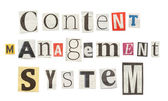 Content Management System, Cutout Newspaper Letters — Stock Photo