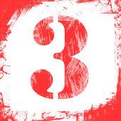 Single Number 3Stamp, Grunge Design — Stock Photo