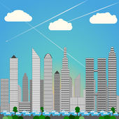 Big City Skyline, heavy rush hour Traffic, Daylight, blue colors — Vector de stock