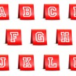 Paper Sign Set Alphabet Red — Stockvector