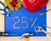 Tools and helmet and 10 percent discount — Stock Photo
