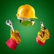 Invisible builder with wrench and pliers — Stock Photo