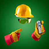 Invisible builder with phone — Stock Photo
