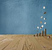 Money rain on a vintage background — Stock Photo