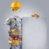 Invisible builder shows information poster — Stock Photo