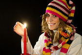 Beautiful young woman in Xmas Eve — Stock Photo