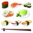 Vector set: Sushi (Roll). Japanese cuisine — Stock Vector