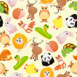 Seamless pattern of funny cartoon animals — Stock Vector