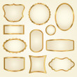 Set of golden vector frames - Stock Vector