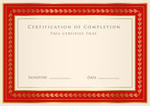 Horizontal red certificate (diploma) of completion (template) with golden floral pattern and border — Stock Vector