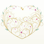 Greeting card with floral heart — Stock Vector