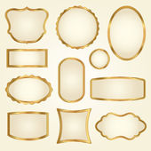 Set of golden vector frames — Stock Vector