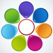 Circular colorful banners with arrow and place for your text — Stock Vector