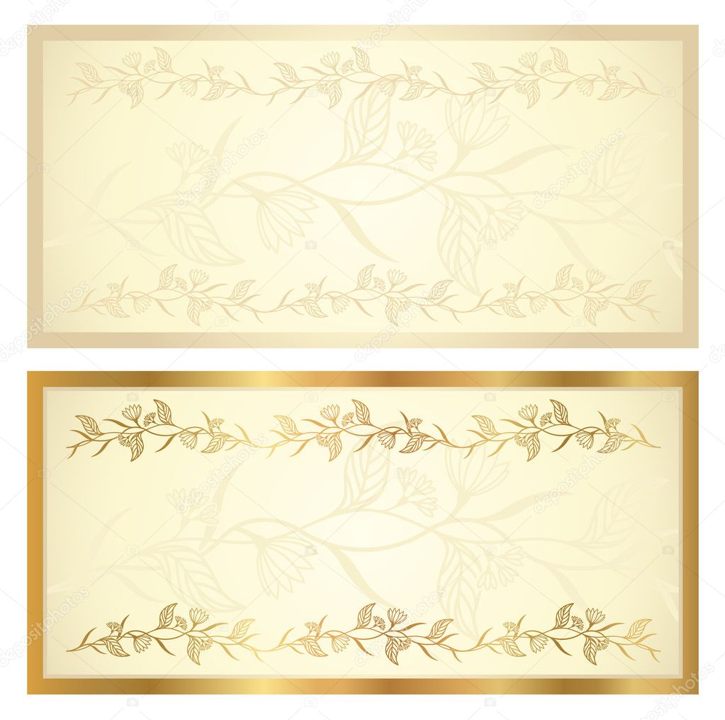 voucher template with floral pattern and border