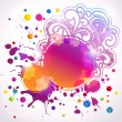 Royalty-Free Stock Vector Image: Abstract round banners (digital art). Grunge texture, colorful drops and stars with floral pattern. Vector web layout