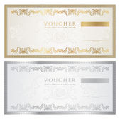 Voucher template with floral pattern, watermark, border. Background design for gift voucher, coupon, banknote, certificate, diploma, ticket, currency, check (cheque). Vector in golden, silver colors — Stockvektor
