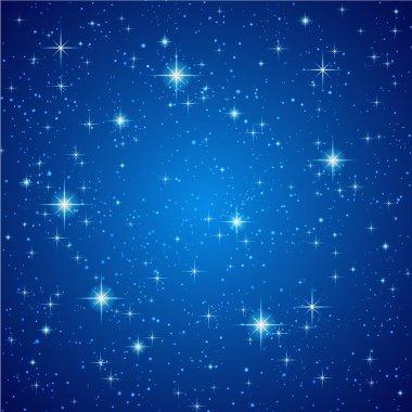 Blue Night sky with stars. Vector