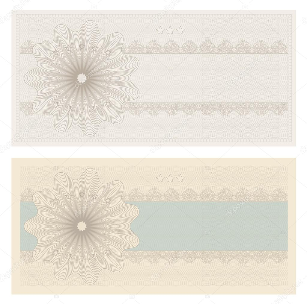 Voucher template with guilloche pattern watermarks and borders – Money Voucher Template